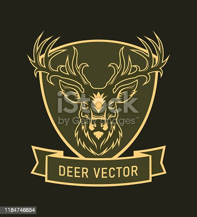 Deer head silhouette on a shield - vector emblem with changeable text on ribbon