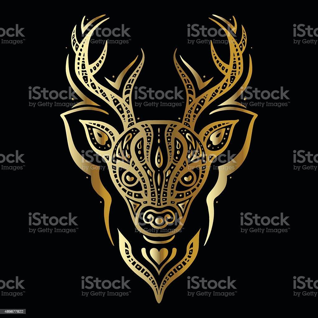 Deer Head Polynesian Tattoo Style Stock Vector Art More
