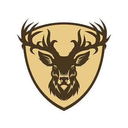 Deer head silhouette on a shield vector character icon
