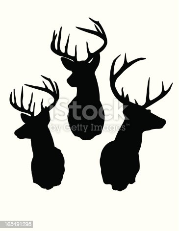Silhouettes of Male Deer (Buck) heads.  AI vs 10 included in zip.