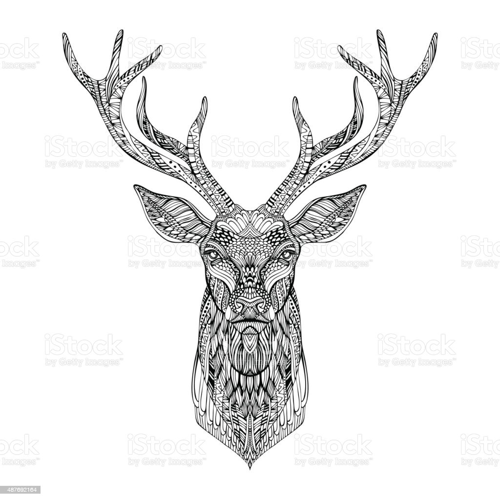 Deer Kopf stilisierte in zentangle Stil. – Vektorgrafik