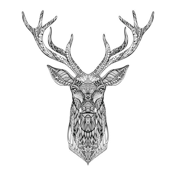 Deer head stylized in style. vector art illustration