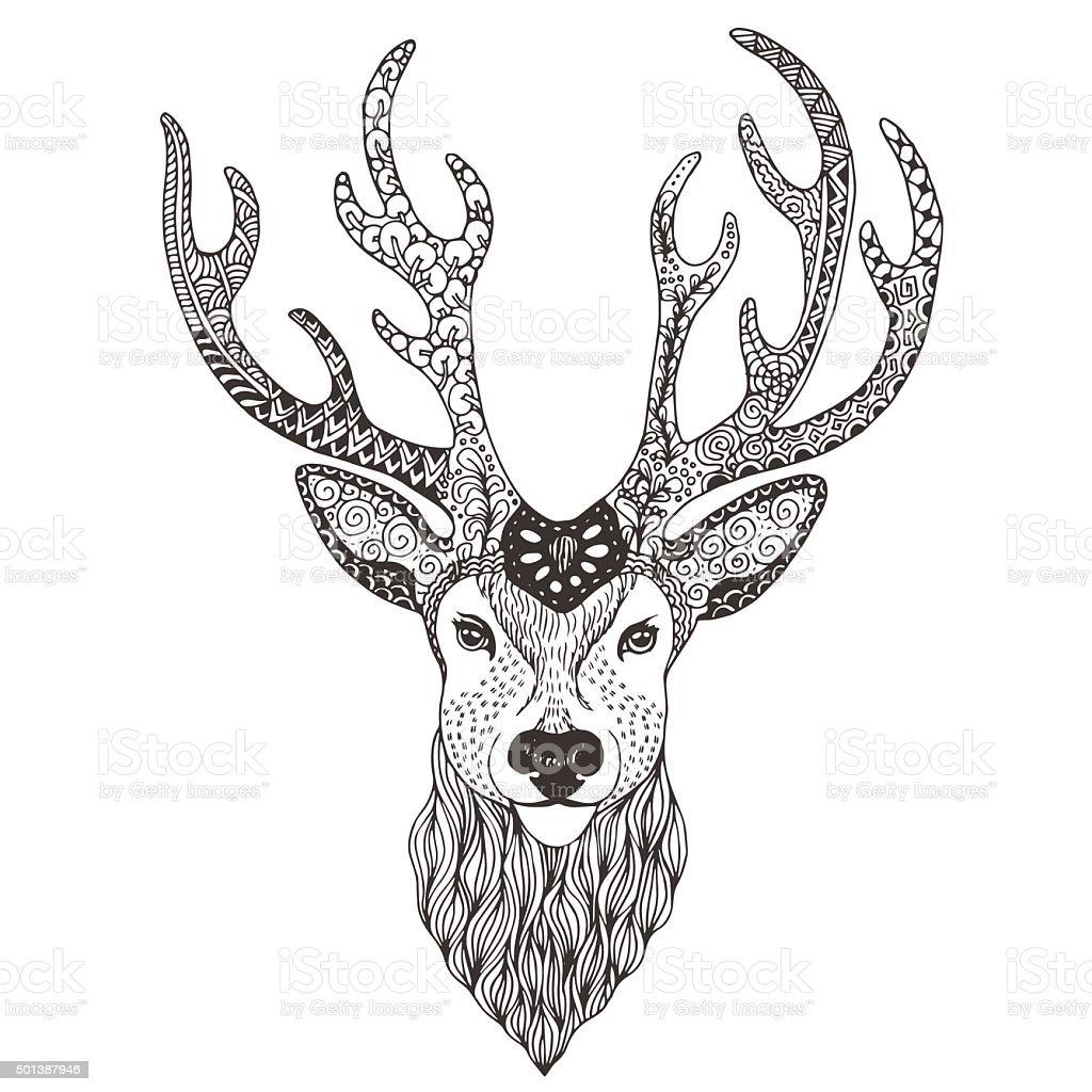 Tatouage Mehendi Tête De Cerf Cliparts Vectoriels Et Plus D Images