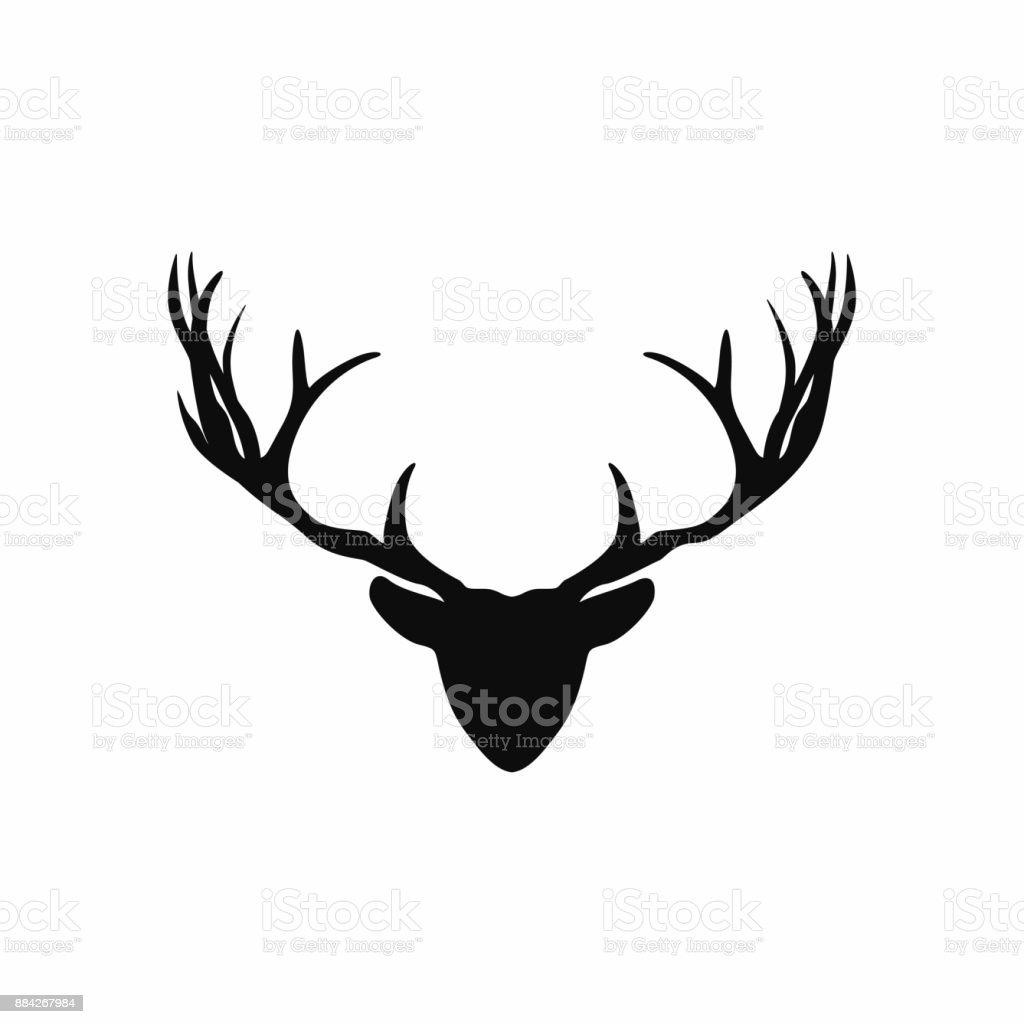 Hoofd Van Het Hert Met Gewei Silhouet Zwarte Silhouet Van Kerstmis Herten Voor Decoratie Stockvectorkunst En Meer Beelden Van Abstract Istock