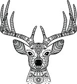 Hand drawn horned deer head with floral ornament, vector illustration. Black image on white background