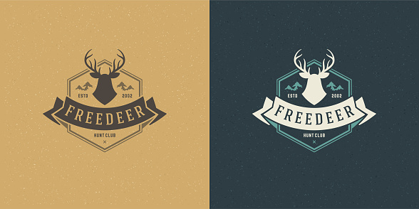 Deer head with horns emblem emblem vector illustration reindeer silhouette for shirt or print stamp