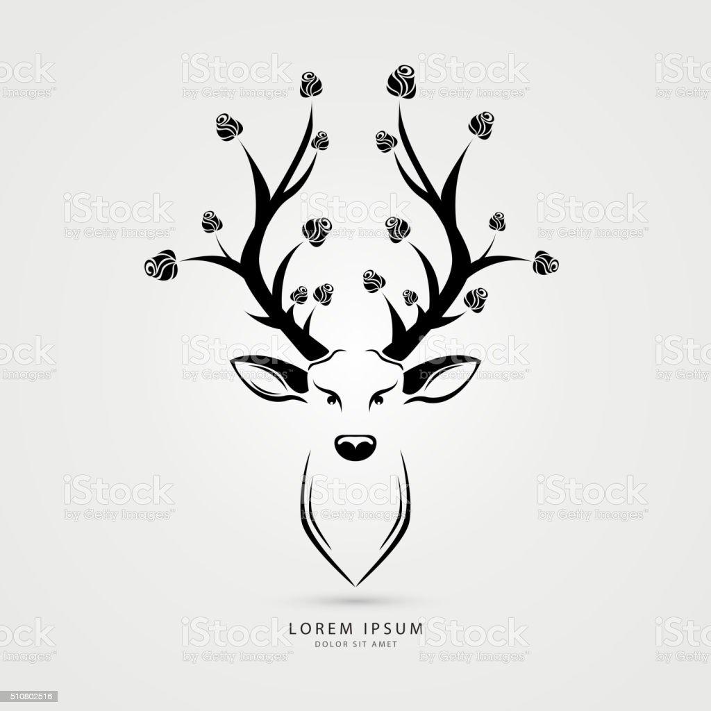 Cerf avec roses- illustration de vecteur tête. Créatif style. Vectoriel - Illustration vectorielle