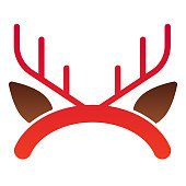 Deer horns flat icon. Hair hoop, horned reindeer antlers symbol, gradient style pictogram on white background. Christmas or holiday sign for mobile concept and web design. Vector graphics