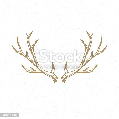 Deer Horns hand drawn logo emblem template