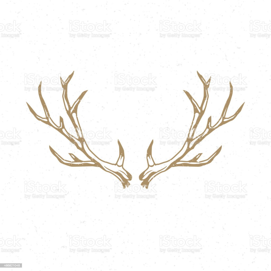 Deer Horns hand drawn logo emblem template vector art illustration