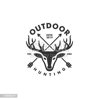 Deer Hunting concept illustration vector template.  Suitable for Creative Industry, Multimedia, entertainment, Educations, Shop, and any related business