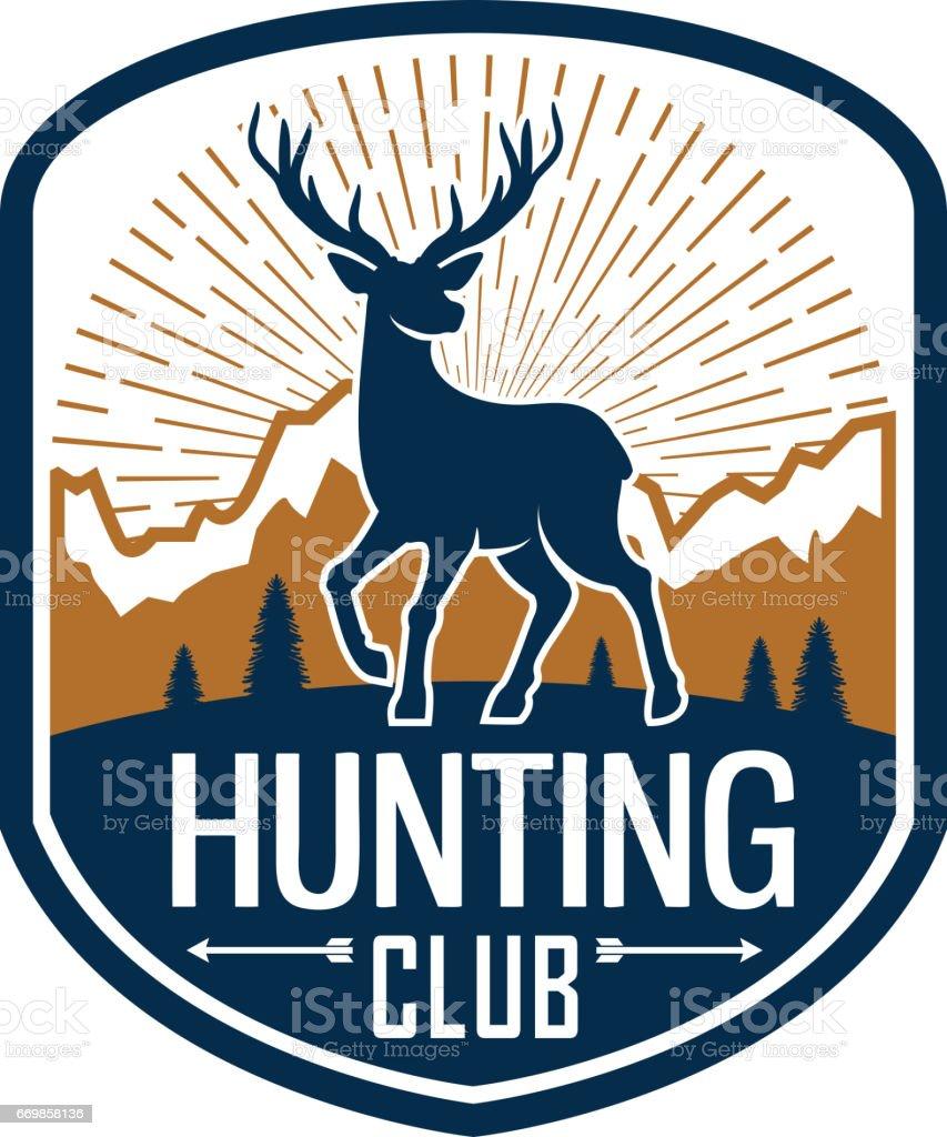 Deer hunting heraldic badge for hunt club design vector art illustration