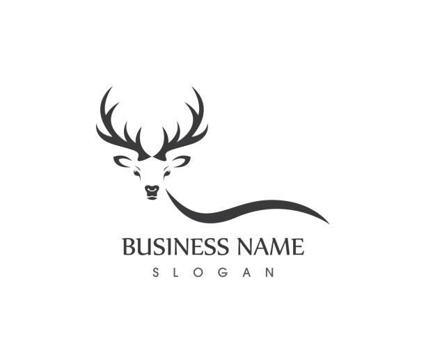hirschsymbol logo-vektor - hirsch stock-grafiken, -clipart, -cartoons und -symbole