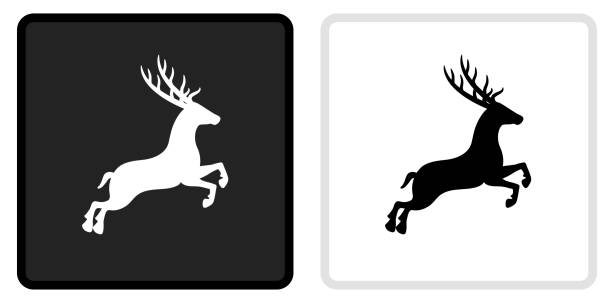 Deer Icon on  Black Button with White Rollover vector art illustration