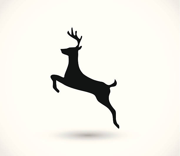 deer icon vector - reindeer stock illustrations