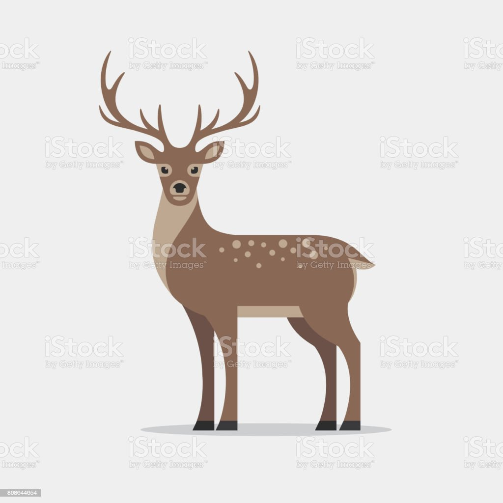 Deer illustration in flat style. royalty-free deer illustration in flat style stock illustration - download image now