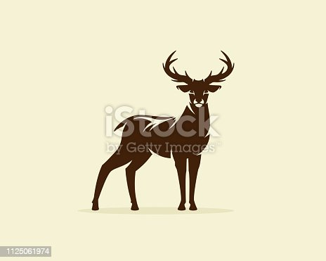 Deer illustration vector, reindeer or stag icon