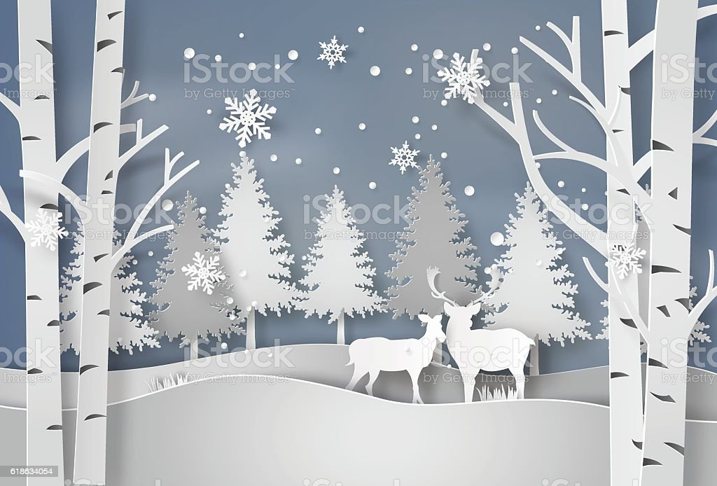 Deer in forest with snow. vector art illustration