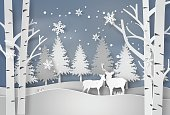 Deer in forest with snow.