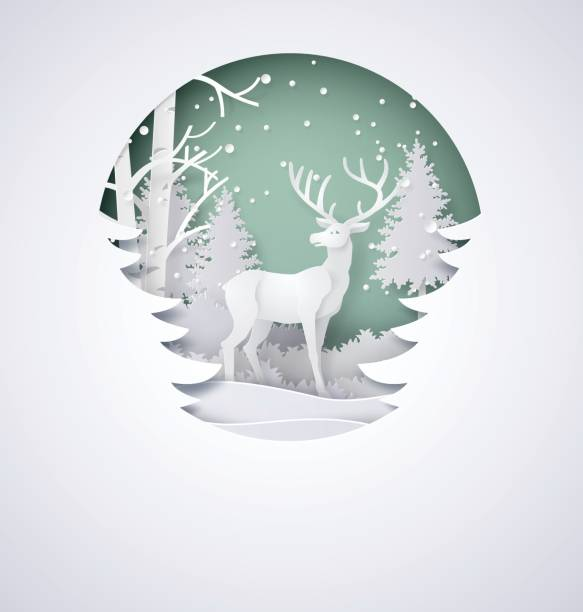 Deer in forest with snow vector art illustration
