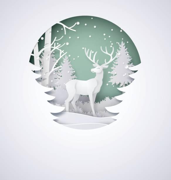 雪と森の鹿 - クリスマス点のイラスト素材/クリップアート素材/マンガ素材/アイコン素材
