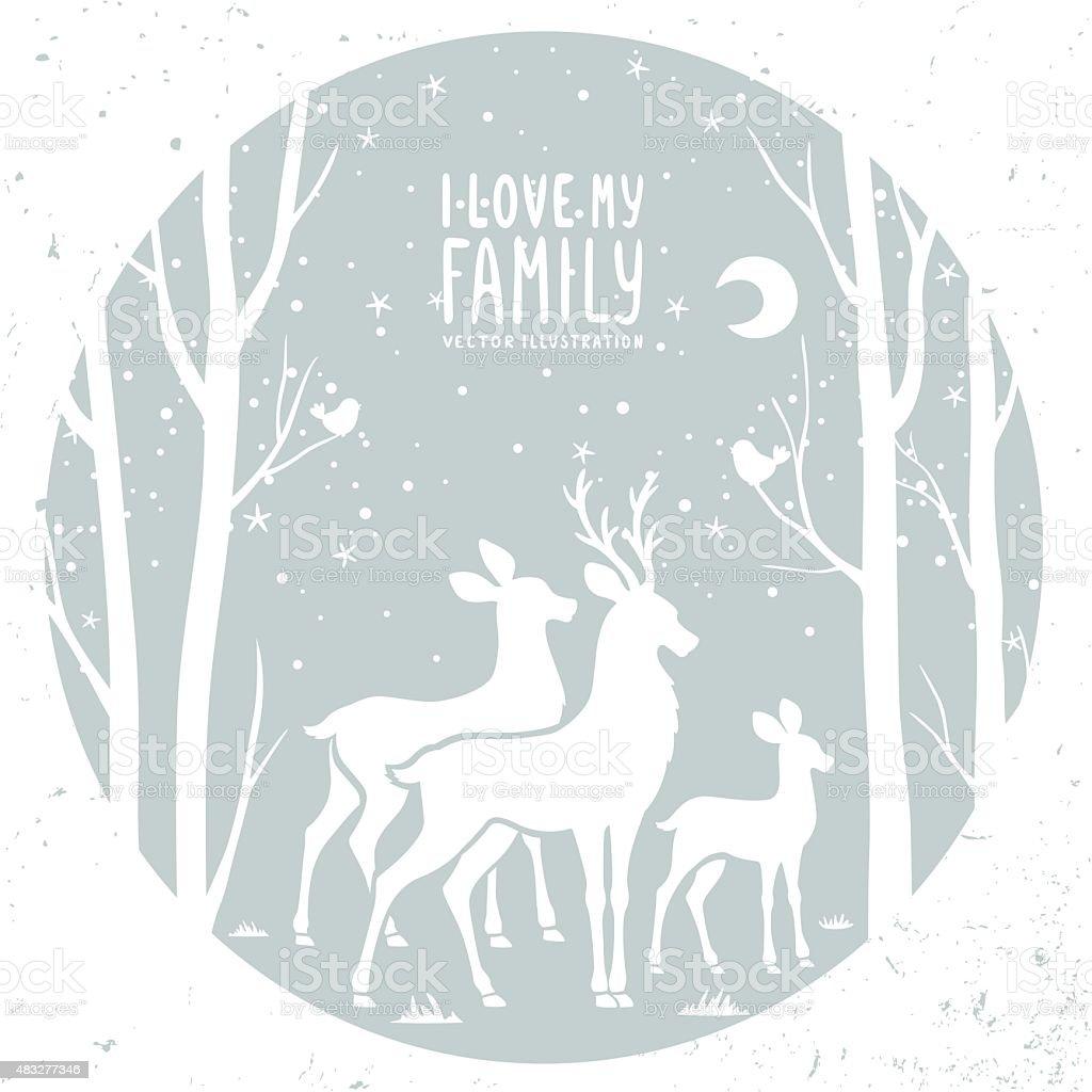 Deer dans le cadre - Illustration vectorielle