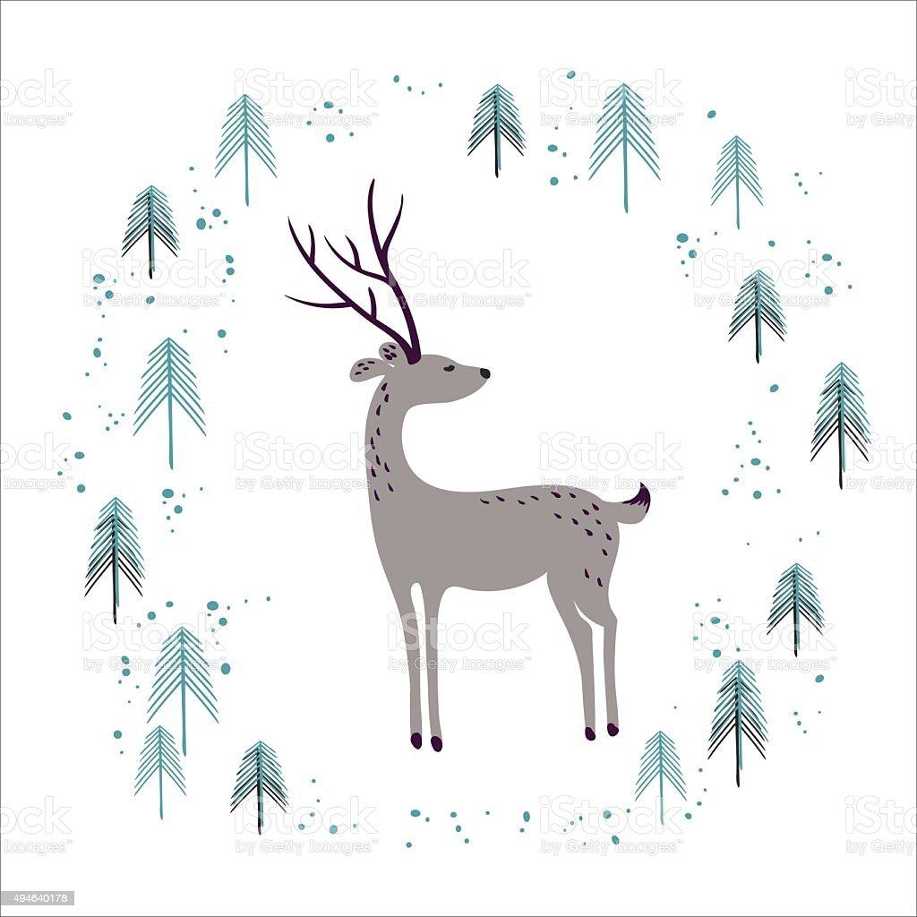 鹿冬の松の森白で分離 のイラスト素材 494640178   istock