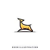 Deer Jumping Illustration Vector Template. Suitable for Creative Industry, Multimedia, entertainment, Educations, Shop, and any related business.