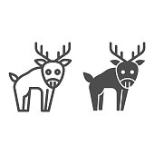 Deer line and solid icon. Horned wild forest animal silhouette. Animals vector design concept, outline style pictogram on white background, use for web and app. Eps 10