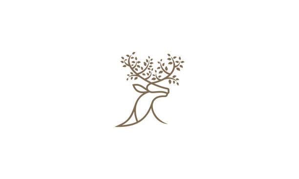 deer line art tree logo icon vector - moose stock illustrations