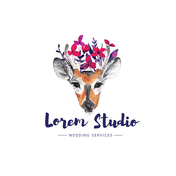 deer logo. - zigeunerleben stock-grafiken, -clipart, -cartoons und -symbole