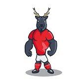 Deer cartoon mascot design with modern illustration concept style for sport team