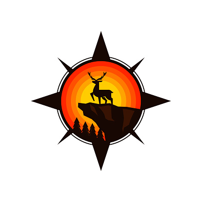 deer on a mountain cliff compass adventure badge vector icon