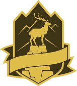Deer on the rock emblem with banner ribbon.