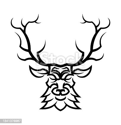 istock Deer or doe head silhouette 1341376987