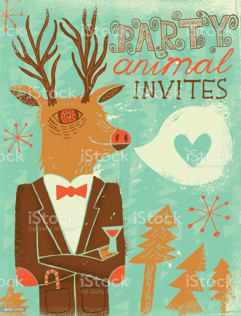 Deer party animal invitation - Illustration vectorielle
