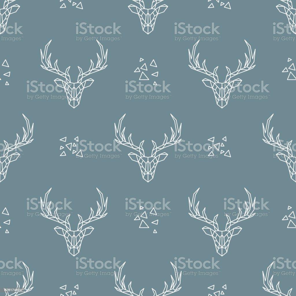 Patrón de ciervos sobre fondo azul oscuro. Textura transparente de vector. Estilo geométrico. Tela, papel pintado, embalaje, tarjeta, invitación, de boda, materia textil, papel, cumpleaños, vacaciones. - ilustración de arte vectorial