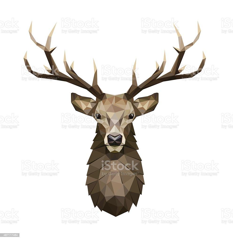 Deer polygonal ilustração. Baixa poly deer com chifres. - ilustração de arte em vetor