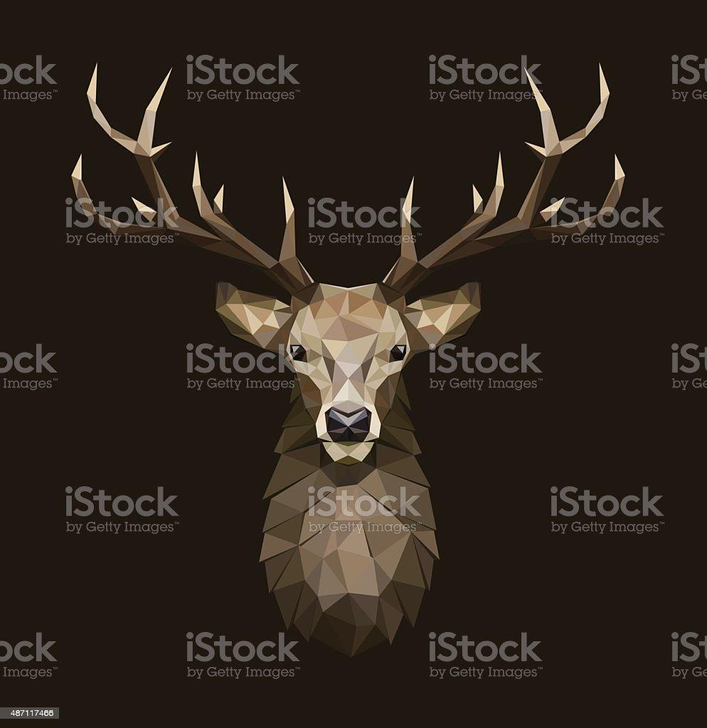 Deer polygonal Illustration. Low poly deer with horns. vector art illustration