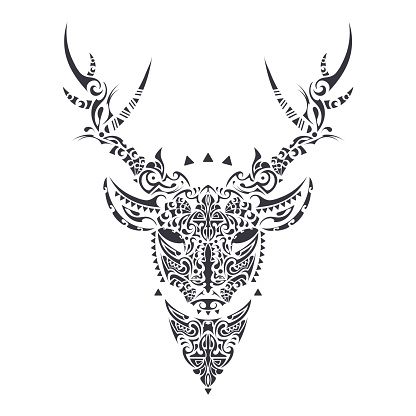 Deer Polynesian style. Tattoo deer in polynesian style. Good for tattoos, prints and t-shirts. Isolated. Vector.