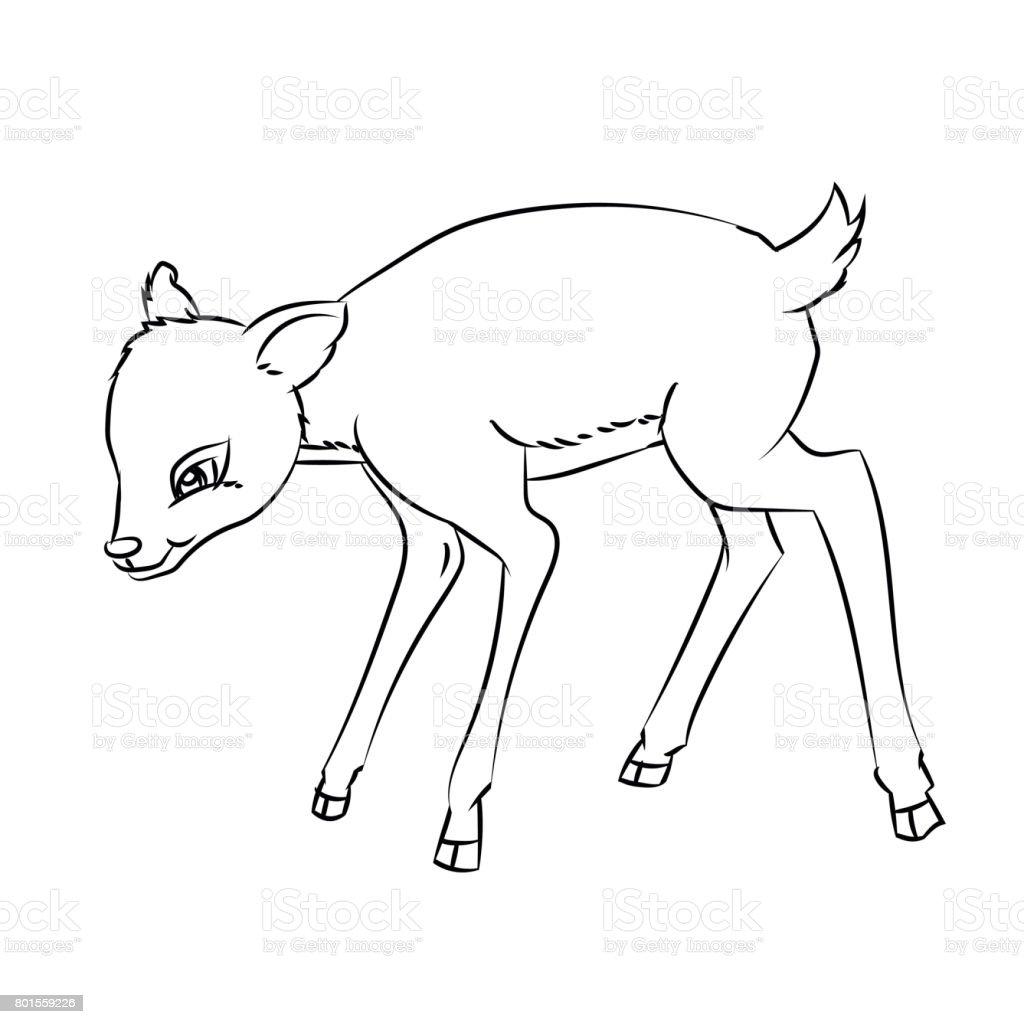 Hirsch Ratte Cartoon Gezeichnete Linie Vektor Stock Vektor Art Und