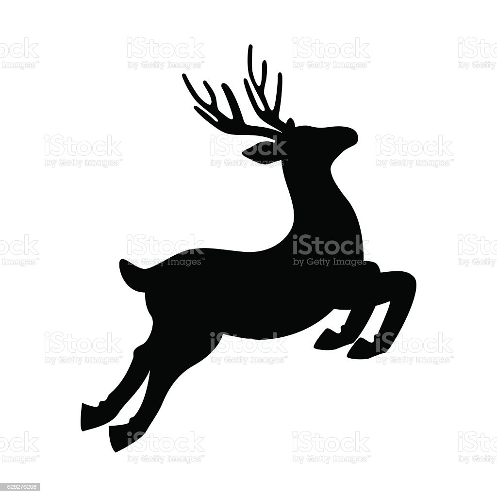 Deer Running And Jumping Illustration - VECTOR - Lizenzfrei Bock - Männliches Tier Vektorgrafik