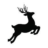 Deer running and jumping vector illustration