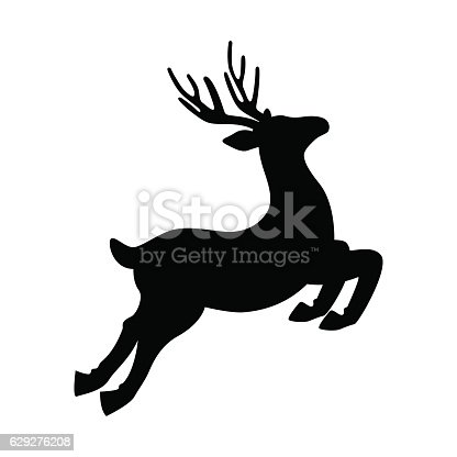 Deer running and jumping vector illustration