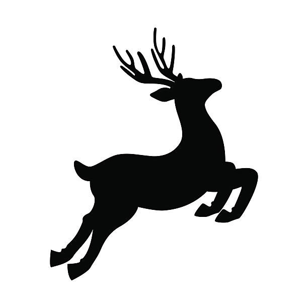 deer running and jumping illustration - vector - rentier stock-grafiken, -clipart, -cartoons und -symbole
