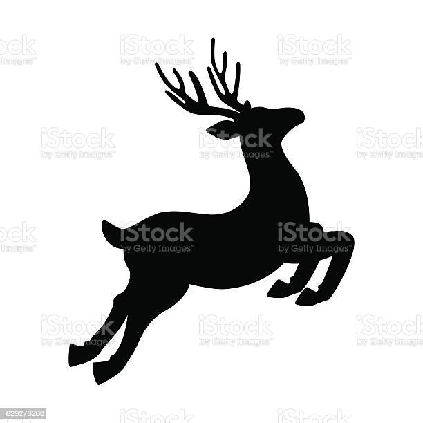 Deer Running And Jumping Illustration Vector Stock Vektor Art und mehr Bilder von Bock - Männliches Tier