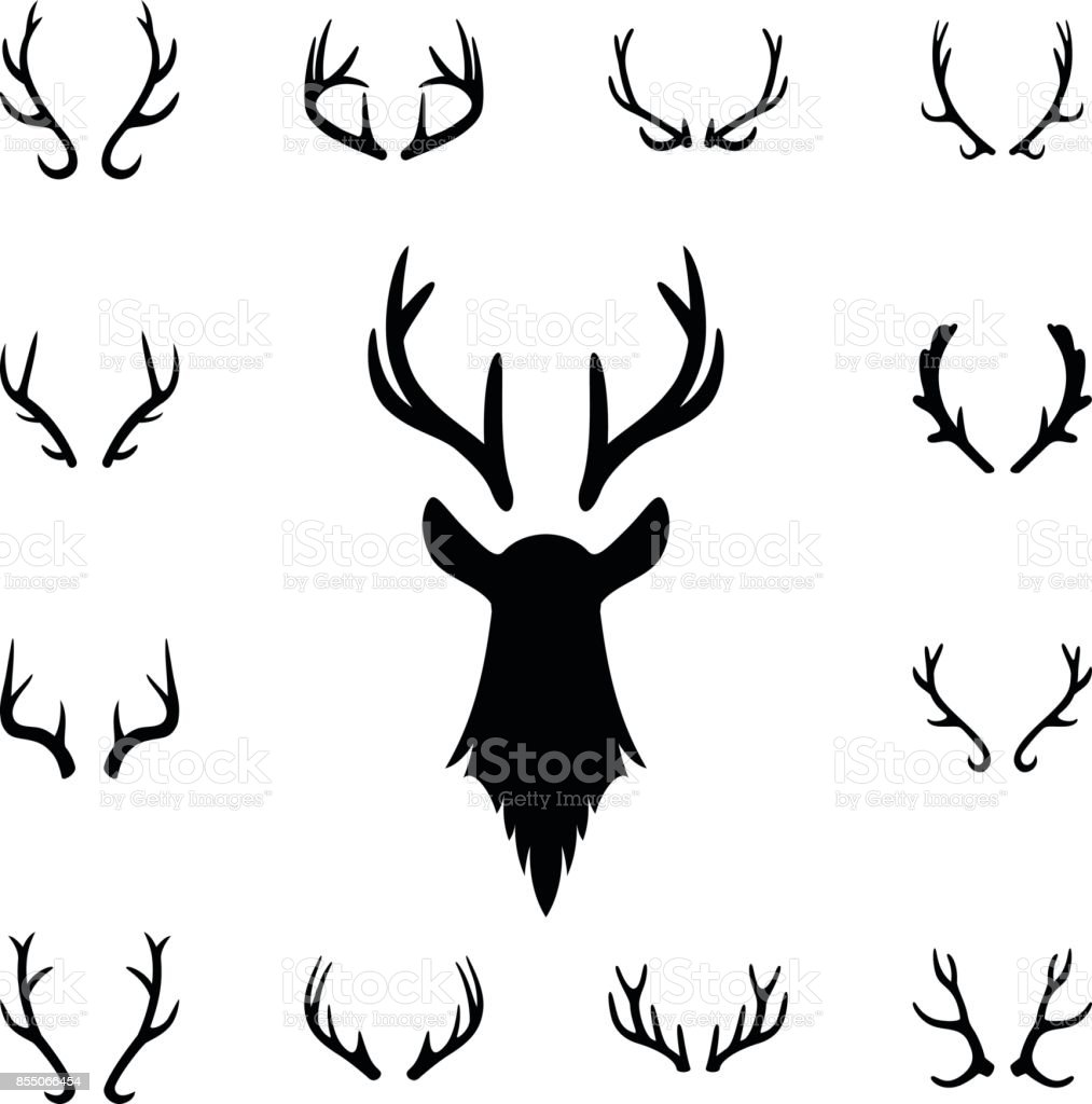 Deer s head and antlers set. Design elements of deer vector art illustration