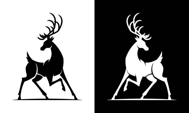 Deer silhouette black and white icon Black and white deer vector cut out silhouette stag stock illustrations