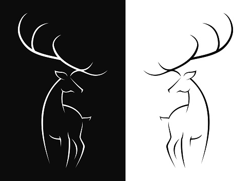 Stylized silhouette of a wild deer or a doe - black and white outline vector icon