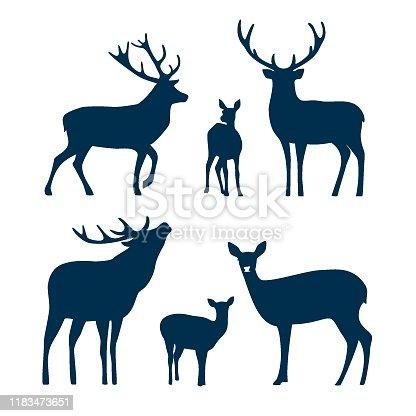 istock Deer silhouette set. Vector graphic 1183473651